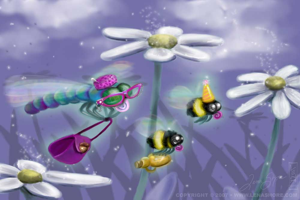 Dragonfly goes to party Illustration
